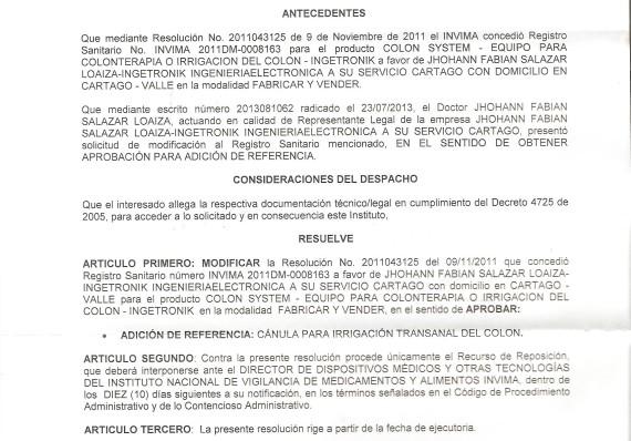 REGISTRO SANITARIO EQUIPO DE COLONTERAPIA Y CANULAS 001
